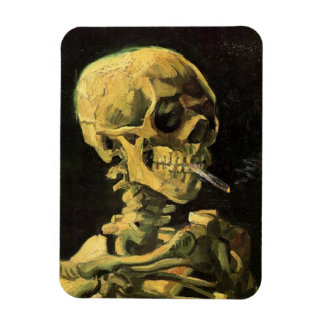 Van Gogh Skull with Burning Cigarette, Vintage Art Rectangular Photo Magnet