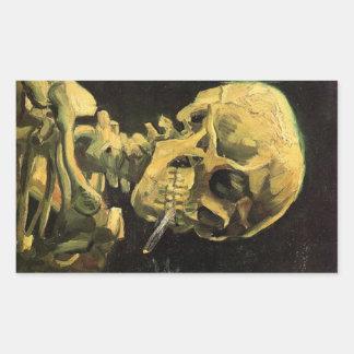 Van Gogh Skull with Burning Cigarette, Vintage Art Rectangular Sticker