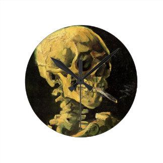 Van Gogh Skull with Burning Cigarette, Vintage Art Round Clock