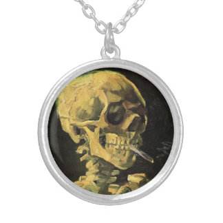 Van Gogh Skull with Burning Cigarette, Vintage Art Silver Plated Necklace