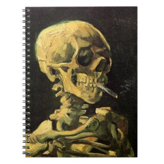 Van Gogh Skull with Burning Cigarette, Vintage Art Spiral Notebook