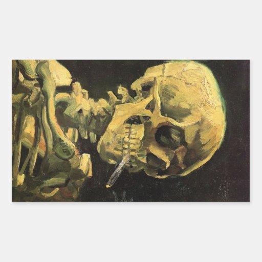 Van Gogh Skull with Burning Cigarette, Vintage Art Rectangle Stickers