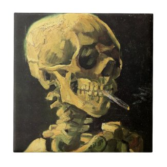 Van Gogh Skull with Burning Cigarette, Vintage Art Ceramic Tiles