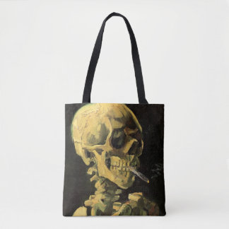 Van Gogh Skull with Burning Cigarette, Vintage Art Tote Bag