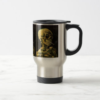 Van Gogh Skull with Burning Cigarette, Vintage Art Travel Mug