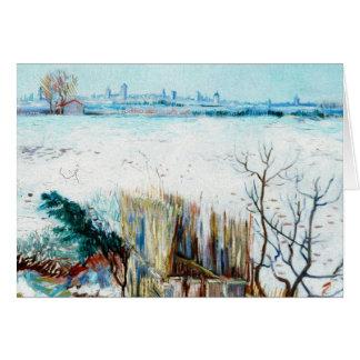 Van Gogh Snowy Landscape w Arles, Vintage Fine Art Card