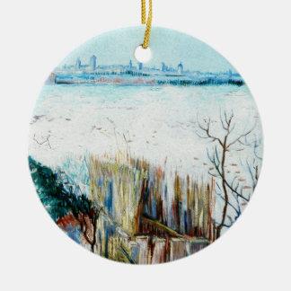 Van Gogh Snowy Landscape w Arles, Vintage Fine Art Ceramic Ornament
