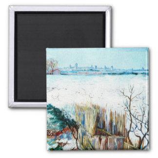 Van Gogh Snowy Landscape w Arles, Vintage Winter 2 Inch Square Magnet
