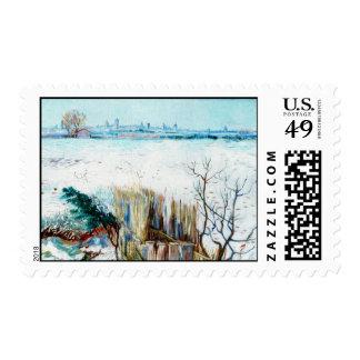 Van Gogh Snowy Landscape w Arles, Vintage Winter Postage