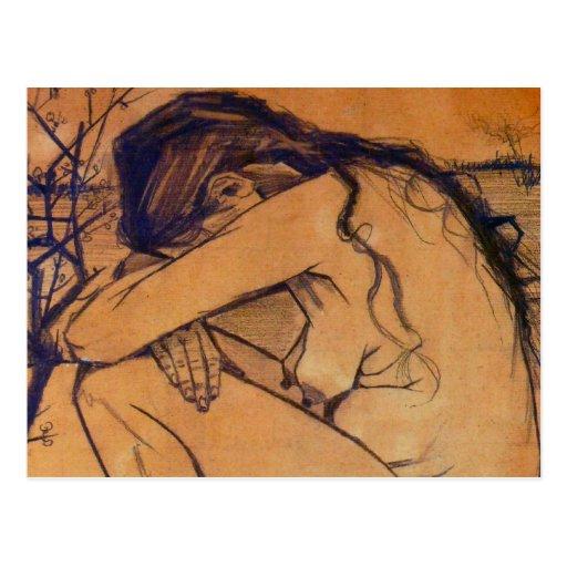 Van Gogh, Sorrow, Vintage Post Impressionism Art Postcard
