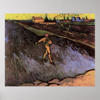 Van Gogh Sower Outskirts of Arles, Vintage Peasant Poster