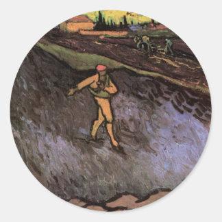 Van Gogh Sower Outskirts of Arles, Vintage Peasant Classic Round Sticker