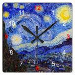"Van Gogh, ""Starry Night"" and No.04 Square Wall Clocks"