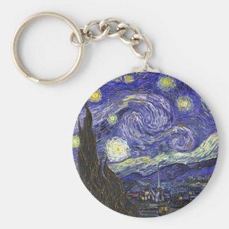 Van Gogh Starry Night Basic Round Button Keychain