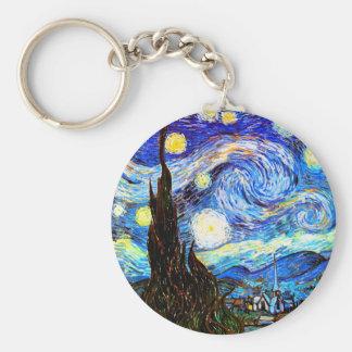 Van Gogh Starry Night (F612) Vintage Fine Art Basic Round Button Keychain