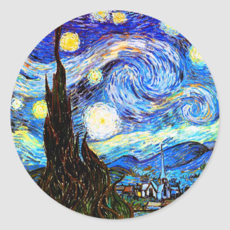 Van Gogh Starry Night (F612) Vintage Fine Art Classic Round Sticker