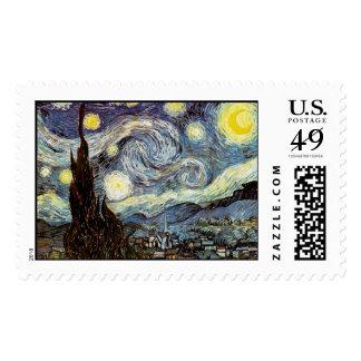 Van Gogh Starry Night (F612) Vintage Fine Art Postage Stamps