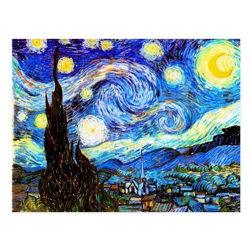 Van Gogh Starry Night (F612) Vintage Fine Art Post Card