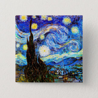 Van Gogh Starry Night Fine Art Button