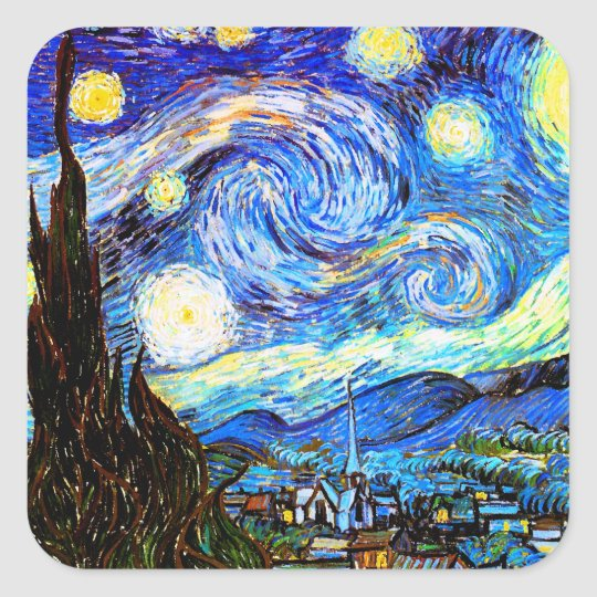 Van Gogh Starry Night Fine Art Square Sticker