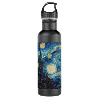 Van Gogh Starry Night Impressionist Painting Stainless Steel Water Bottle