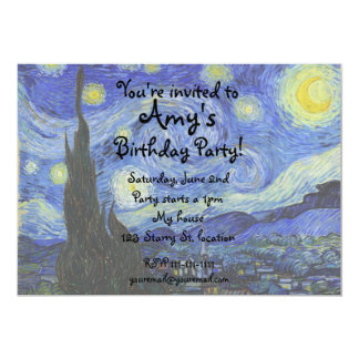 Van gogh starry night invitation