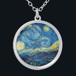 """Van Gogh Starry Night Necklace<br><div class=""""desc"""">Van Gogh Starry Night necklace. Van Gogh's most famous painting, Starry Night depicts the view from the artist's bedroom window at the asylum in Saint Remy de Provence. A beautiful night sky punctuated by yellow stars pulsing above the village church below, Starry Night is a great gift for fans of...</div>"""