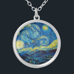 "Van Gogh Starry Night Necklace<br><div class=""desc"">Van Gogh Starry Night necklace. Van Gogh's most famous painting, Starry Night depicts the view from the artist's bedroom window at the asylum in Saint Remy de Provence. A beautiful night sky punctuated by yellow stars pulsing above the village church below, Starry Night is a great gift for fans of...</div>"