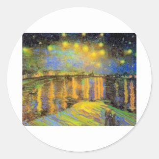 Van Gogh - Starry Night On The Rhone Classic Round Sticker