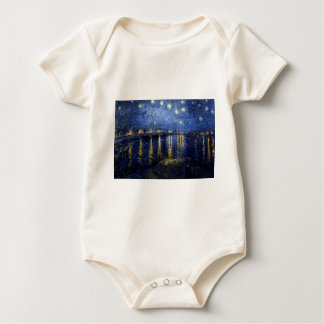 Van Gogh Starry Night Over Rhone Baby Bodysuit