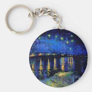 Van Gogh Starry Night Over Rhone (F474) Fine Art Basic Round Button Keychain