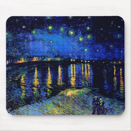 Van Gogh Starry Night Over Rhone  (F474) Fine Art Mouse Pad