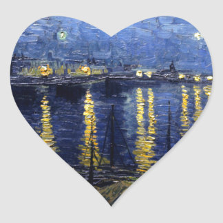 Van Gogh Starry Night Over Rhone Heart Sticker