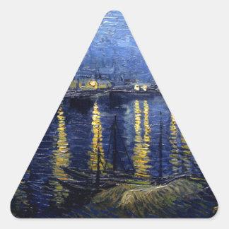 Van Gogh Starry Night Over Rhone Triangle Sticker