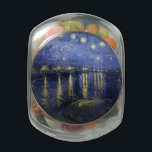 """Van Gogh   Starry Night Over The Rhone   1888 Glass Candy Jar<br><div class=""""desc"""">""""Starry Night Over The Rhone"""" was completed by Vincent Van Gogh in 1888</div>"""