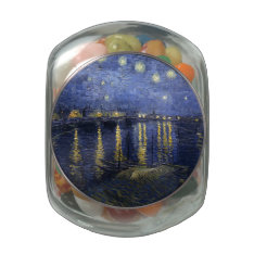 Van Gogh | Starry Night Over The Rhone | 1888 Jelly Belly Candy Jar at Zazzle