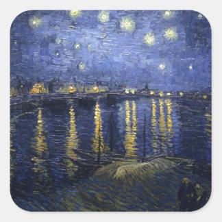 Van Gogh   Starry Night Over The Rhone   1888 Square Sticker