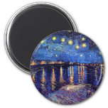 Van Gogh - Starry Night Over The Rhone 2 Inch Round Magnet