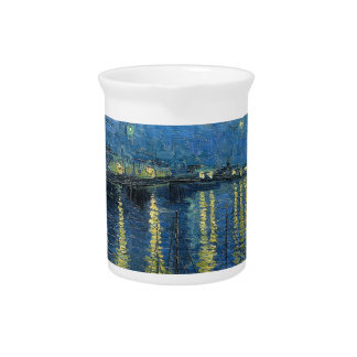 Van Gogh: Starry Night Over the Rhone Beverage Pitcher
