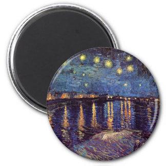 Van Gogh Starry Night Over the Rhone, Fine Art 2 Inch Round Magnet