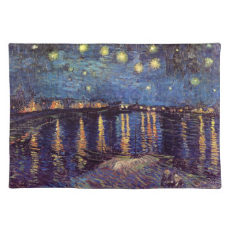 Van Gogh Starry Night Over the Rhone, Fine Art Cloth Placemat