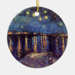 Van Gogh Starry Night Over the Rhone, Fine Art Double-Sided Ceramic Round Christmas Ornament