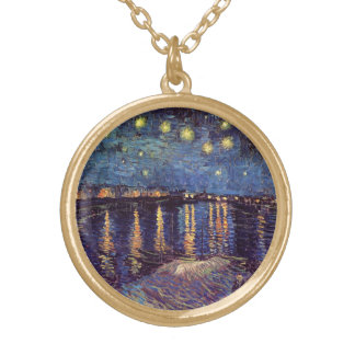 Van Gogh Starry Night Over the Rhone, Fine Art Gold Plated Necklace