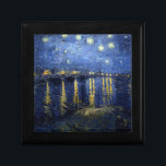 "Van Gogh: Starry Night Over the Rhone Keepsake Box<br><div class=""desc"">Van Gogh: Starry Night Over the Rhone.  Fantastic classic landscape painted by the Dutch painter Vincent Willem van Gogh. vintage, vincent van gogh, post impressionism, impressionist, post impressionist, gift, landscape, starry night over the rhone</div>"