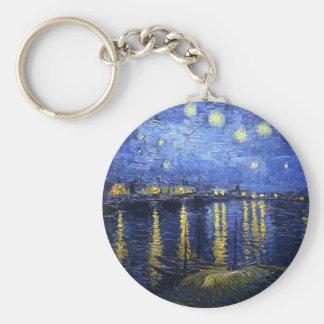 Van Gogh Starry Night Over The Rhone Key Chain