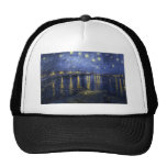 Van Gogh Starry Night Over The Rhone Mesh Hats