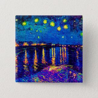Van Gogh - Starry Night Over The Rhone Pop Art Button