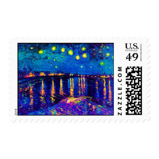Van Gogh - Starry Night Over The Rhone Pop Art Postage Stamp