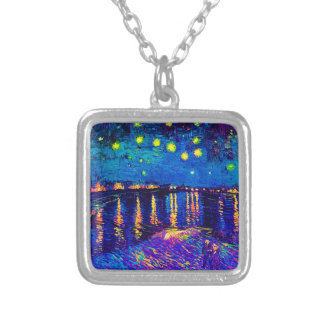 Van Gogh - Starry Night Over The Rhone Pop Art Silver Plated Necklace