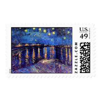 Van Gogh - Starry Night Over The Rhone Postage Stamp
